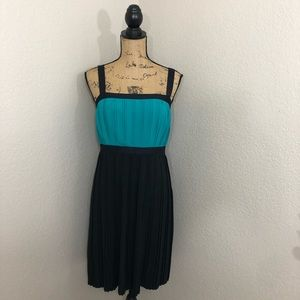 Calvin Klein Black and Turquoise Pleated Dress